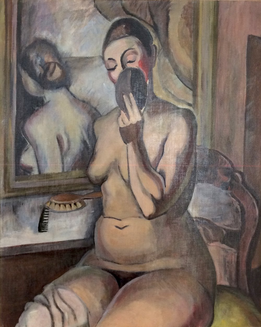 Clara Mairs    Self Portrait with Mirror , c. 1920s  Oil on canvas  30 x 24 inches