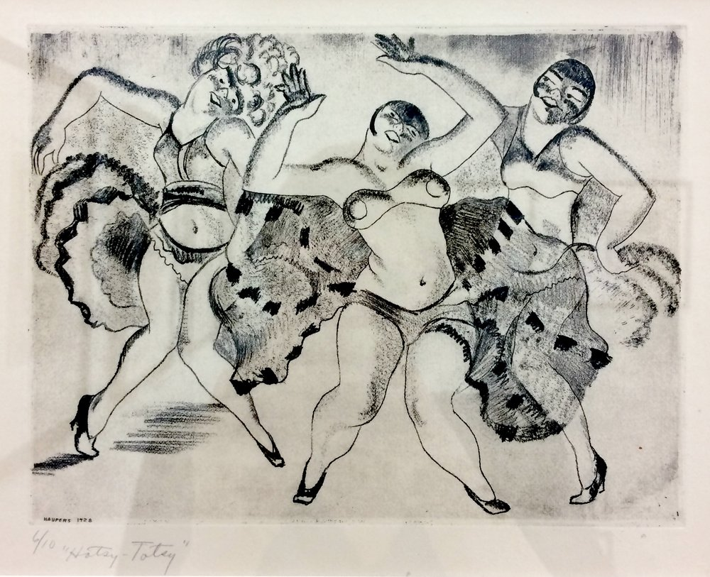 Clem Haupers    Hotsy-Totsy , 1928  Lithograph, Edition 6/10  Image Size: 6 ¼ x 8 ¼ inches  Framed: 16 ¾ x 18 ½ inches