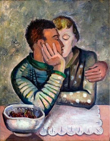 Clara Mairs    Lovers with Cherries , c. 1950s  Oil on board  Canvas: 28 x 23 inches  Framed: 32 ½ x 27 inches