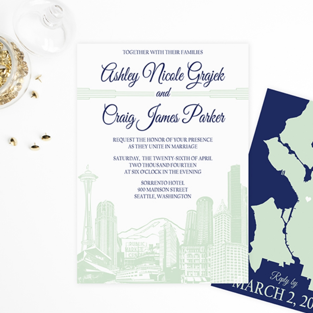 Seattle Cityscape Skyline Wedding Invitation by Ashley Parker Creative - Navy and Mint