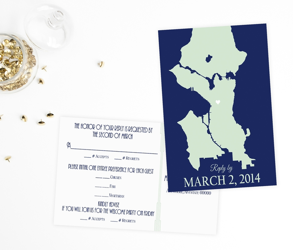 Seattle Cityscape Skyline Wedding Invitations by Ashley Parker Creative - Navy and Mint