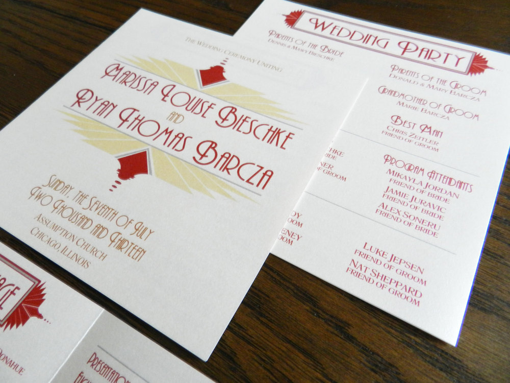 Gatsby Art Deco Wedding Ceremony Booklet Program by Ashley Parker Creative - Red, Silver, Gold, Bronze