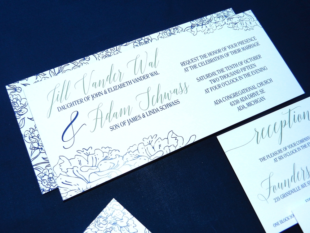 Modern Blooms Wedding Invitation - Main Invite - by Ashley Parker Creative
