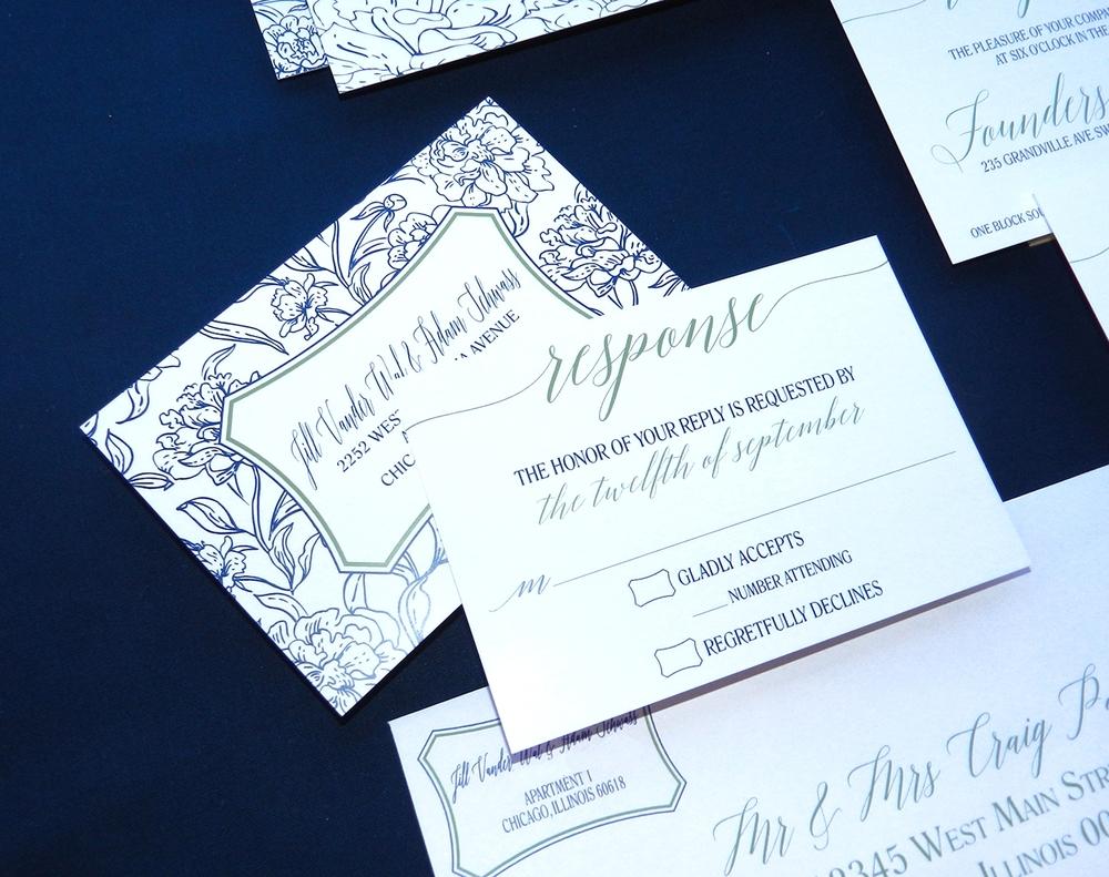 Modern Blooms Wedding Invitation - RSVP - by Ashley Parker Creative
