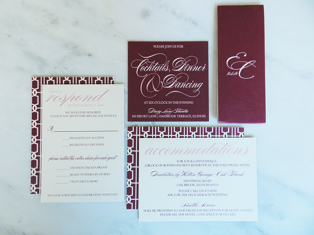 Lovely Links Wedding Invitation - Inserts and Bellyband - by Ashley Parker Creative