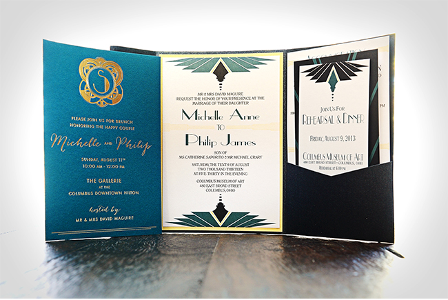 Gatsby Wedding Invitation by Ashley Parker Creative, Photo by Benjamin James Photography, Featured on Style Unveiled