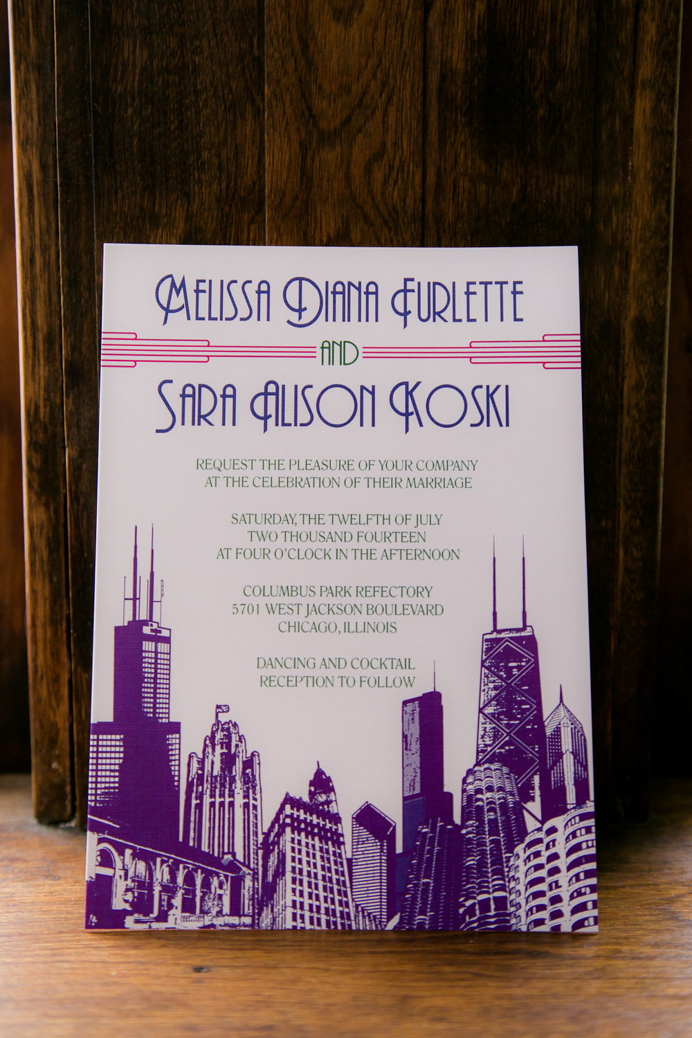 Chicago Wedding Invitation by Ashley Parker Creative, Photo by Rebecca Marie Photography & Design; Featured on Style Unveiled