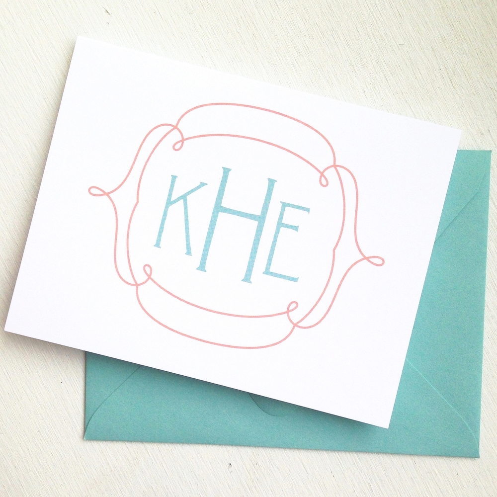 Loopy Monogram Personalized Notecards by Ashley Parker Creative.  Teal and Coral Cards to send some old school snail mail to your friends and family!