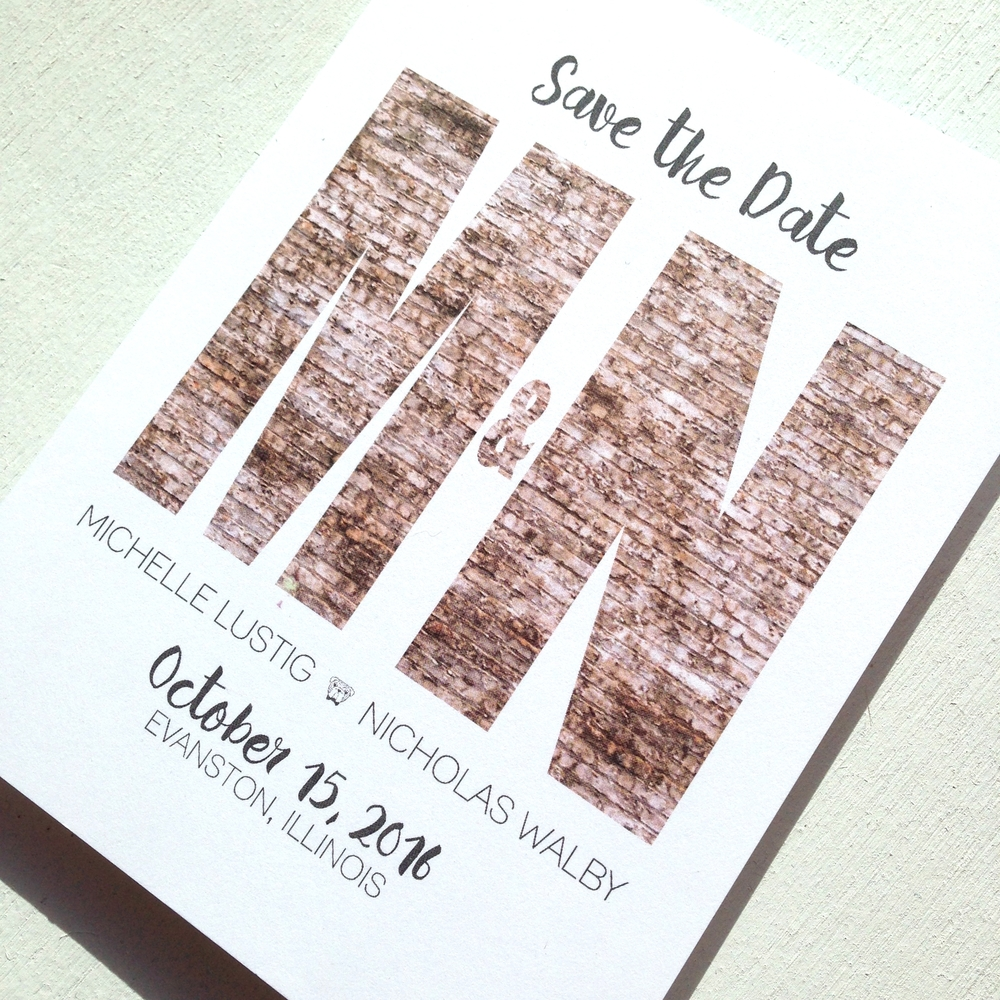 Bricks Save the Date by Ashley Parker Creative.  The perfect save the date for an urban wedding or modern wedding featuring vintage brick and casual fonts.