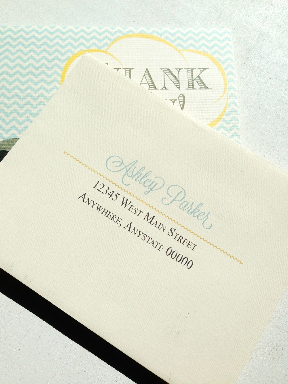 Elephant & Chevron Thank You Cards by Ashley Parker Creative.  Cute cards to thank your friends and family for baby gifts.  Baby Thank You Cards.  Envelope Addressing