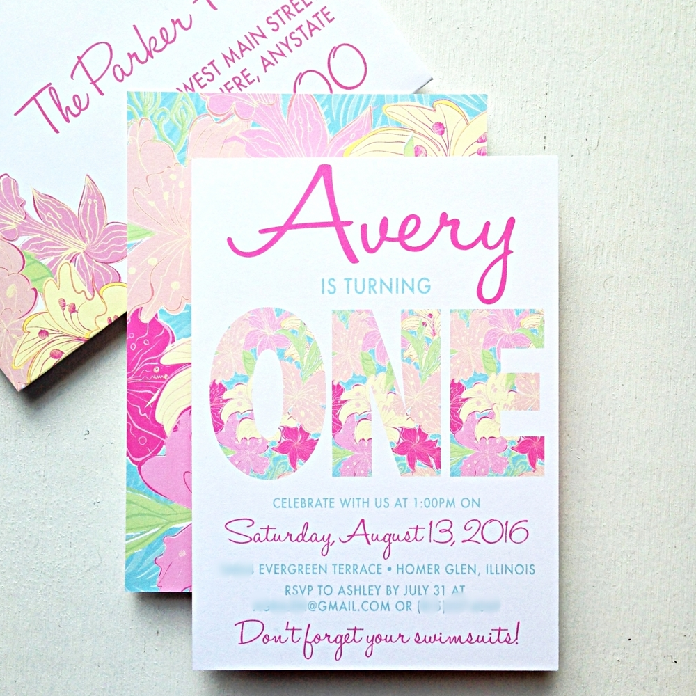 Preppy Tropical Birthday Party Invitation by Ashley Parker Creative.  Lilly Pulitzer Inspired.  Pink, Blue, Yellow, Lime