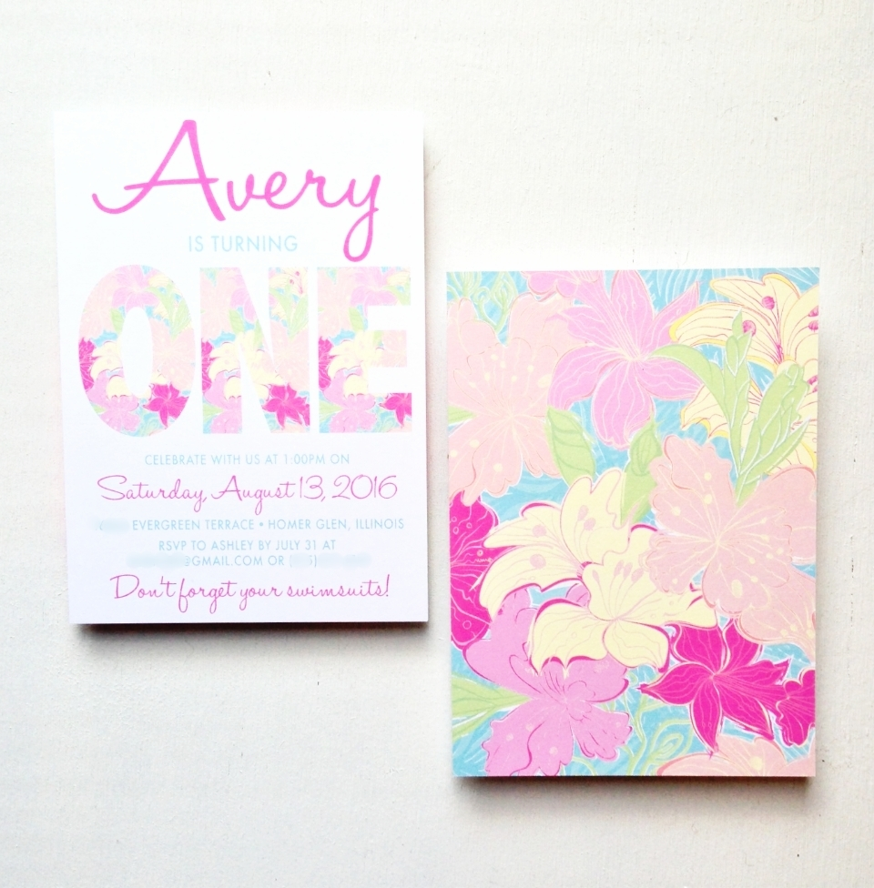 Preppy Tropical Birthday Invitation by Ashley Parker Creative.  Lilly Pulitzer Inspired.  Pink, Blue, Yellow, Lime.