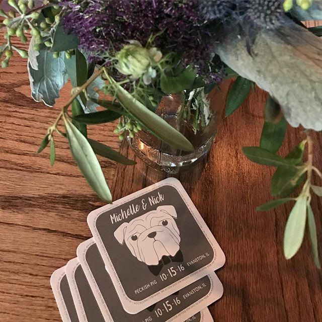 Coasters for last nights wedding.  The couple donated to a bulldog rescue in honor of their pup Porterhouse (who was the ring bearer!). #walbydamned #ashleyparkercreative #customwedding #modernwedding #weddinginvites #weddingdetails #weddingcoasters #weddingfavors #weddingdecor #wedding #industrialwedding #bulldoglove #bulldogs #bulldoglife