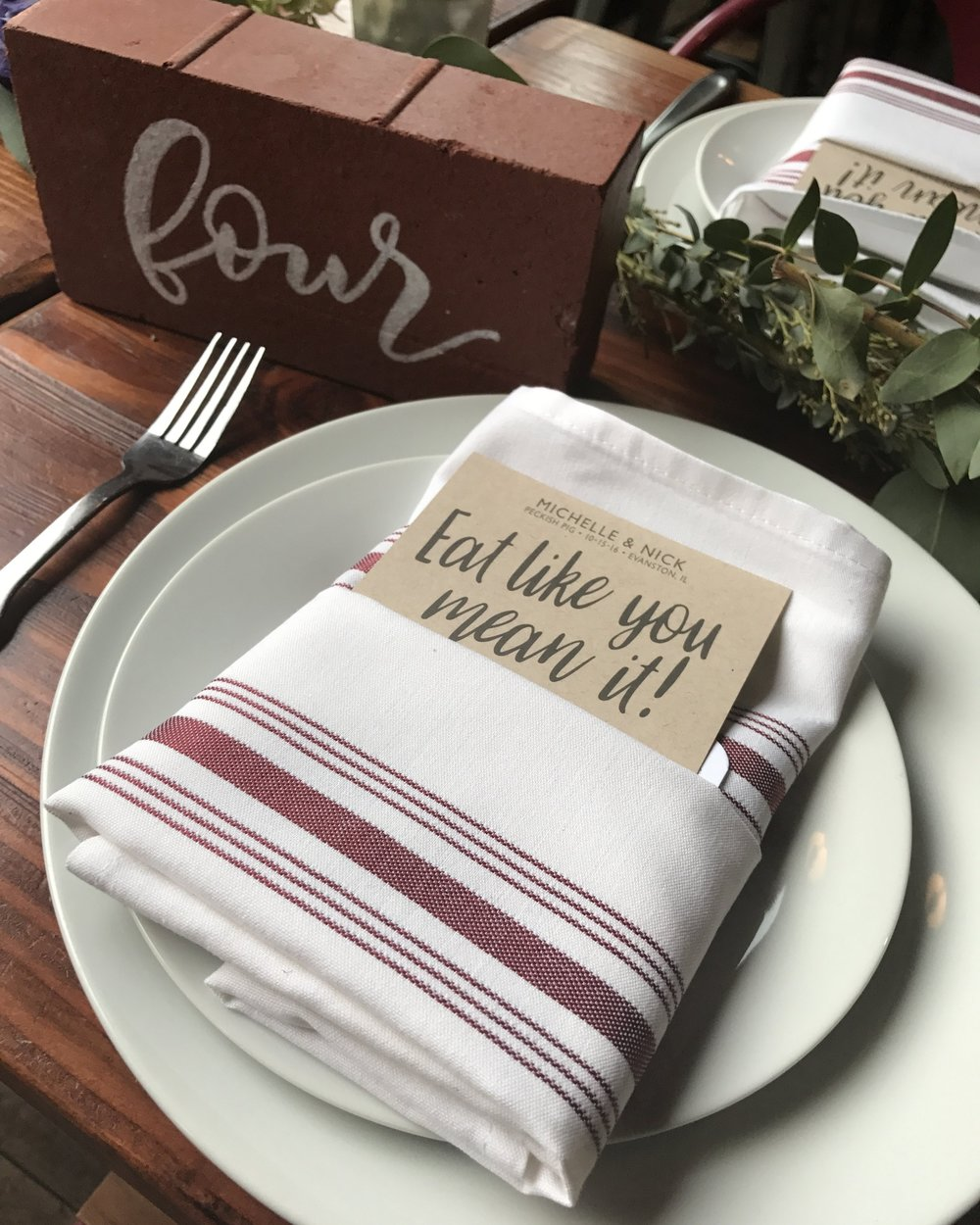 Industrial Chic Wedding Menus with Ferns and Handwritten Calligraphy Font and Instagram Hashtag on Kraft Paper with Charcoal Digital Ink by Ashley Parker Creative