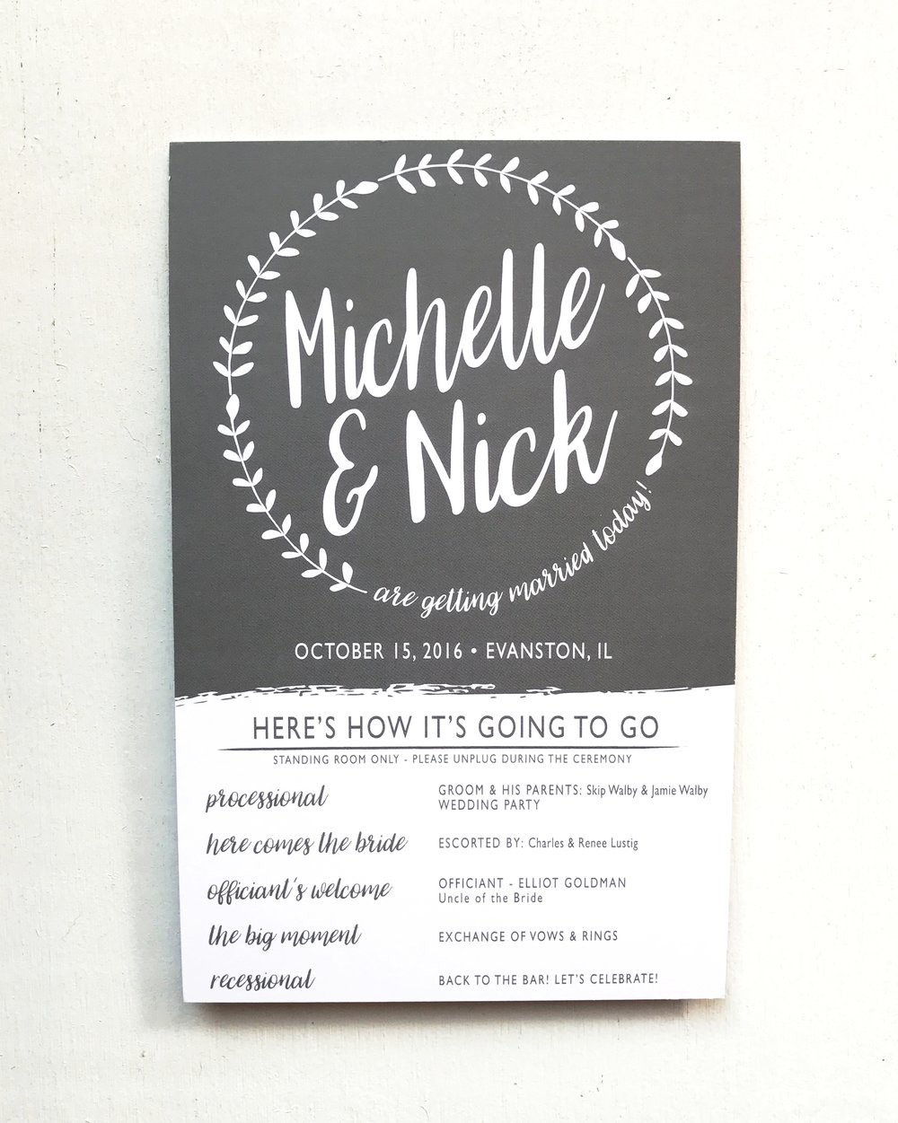 Industrial Chic Wedding Programs for Ceremony with Ferns and Handwritten Calligraphy Font with Charcoal Digital Ink by Ashley Parker Creative