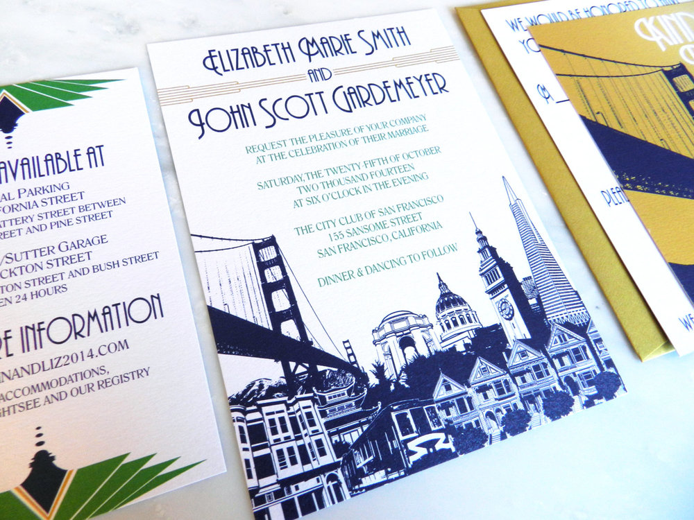 San Francisco Wedding Invitation in Navy, Gold and Emerald with skyline, Golden Gate Bridge RSVP, and Art Deco Font by Ashley Parker Creative