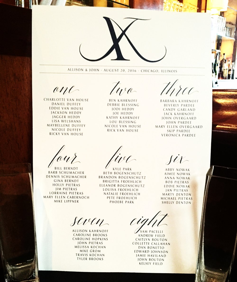 Modern Script Custom Wedding Escort Sign or Wedding Seating Chart for Reception in Navy and White by Ashley Parker Creative