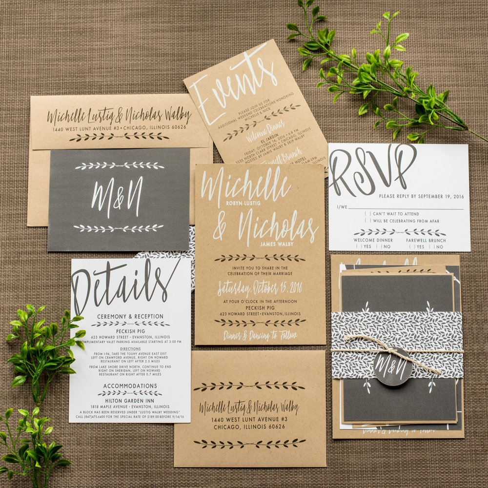 Industrial Chic Wedding Invitation by Ashley Parker Creative on Kraft Paper with Charcoal and Fern Accents, a Monogram Tag, and Printed Bellyband