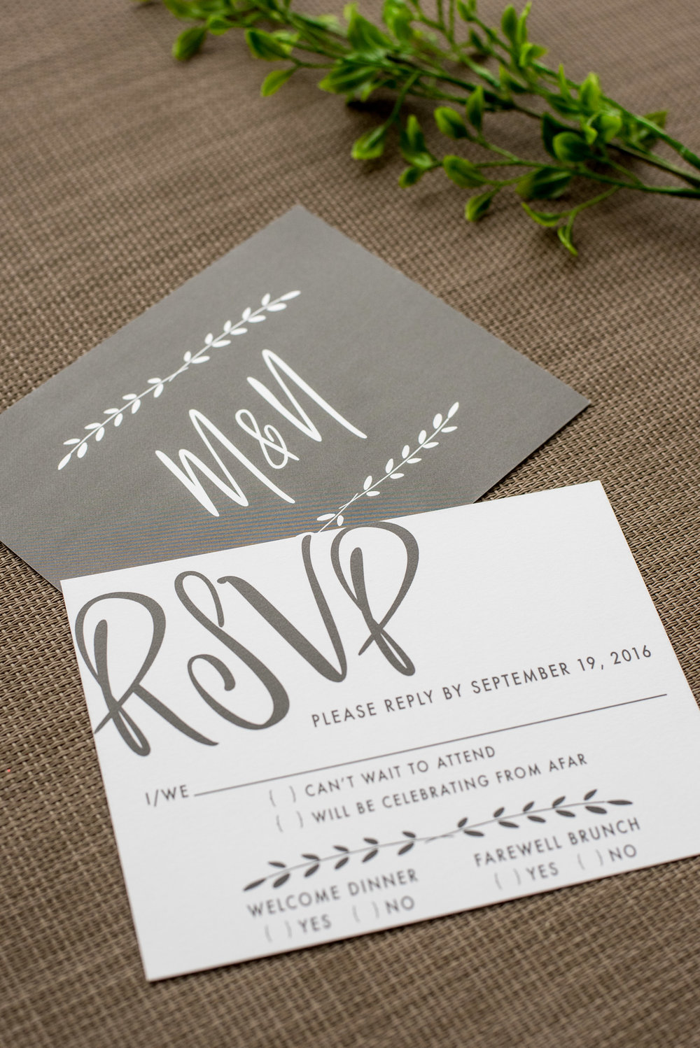 Industrial Chic Wedding Invitation by Ashley Parker Creative on Kraft Paper with Charcoal and Fern Accents, a Monogram Tag, and Printed Bellyband. RSVP Card.