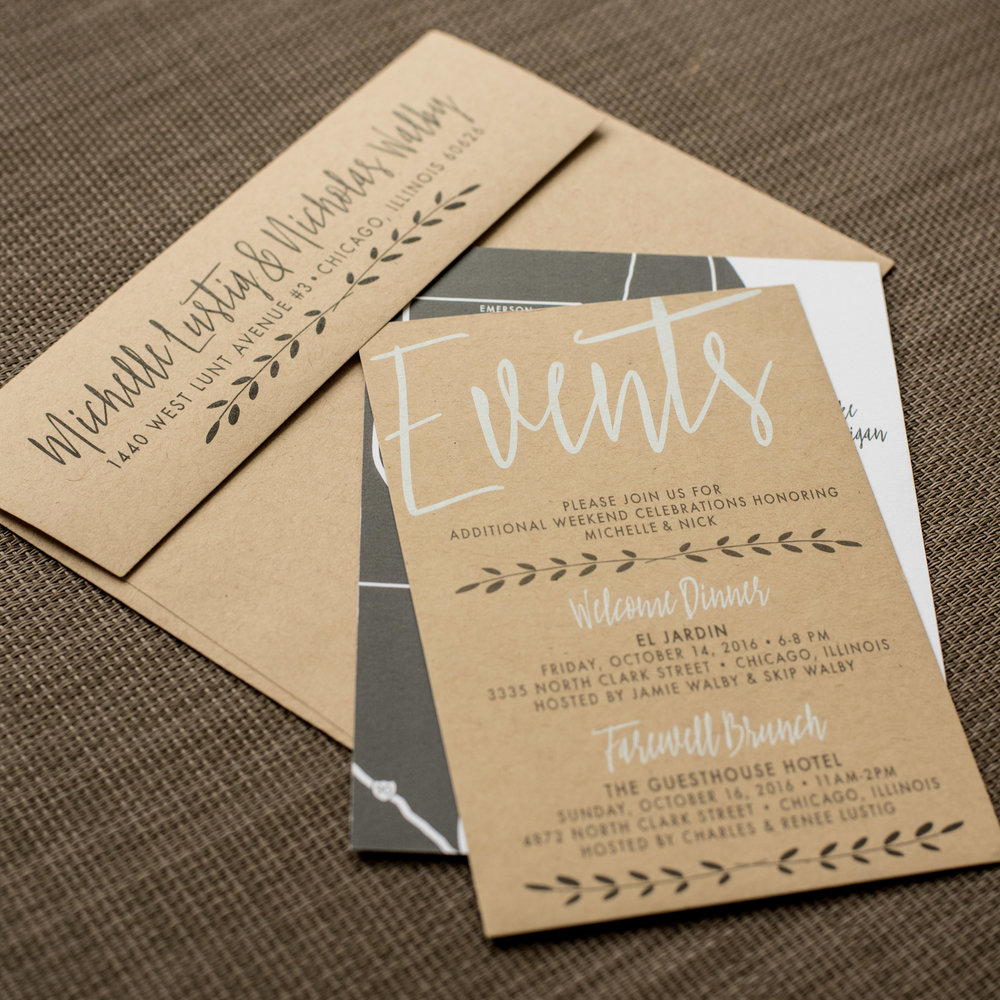 Industrial Chic Wedding Invitation by Ashley Parker Creative on Kraft Paper with Charcoal and Fern Accents, a Monogram Tag, and Printed Bellyband.  Events Insert.