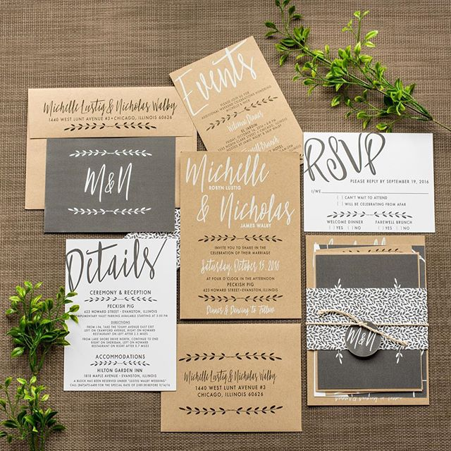 New Design!  This one is perfect for a wedding in an industrial or rustic space.  It uses awesome white ink on kraft paper, and some inserts are printed on white card stock with charcoal ink.  Available to order now on my website!  #ashleyparkercreative #weddinginvitations #modernwedding #rusticwedding #industrialwedding #kraftpaper #weddingpaper #weddingplanning #weddingfun #weddingstyle #weddingideas #weddingstylist #wedding #weddingdetails #weddingstationery #countrywedding