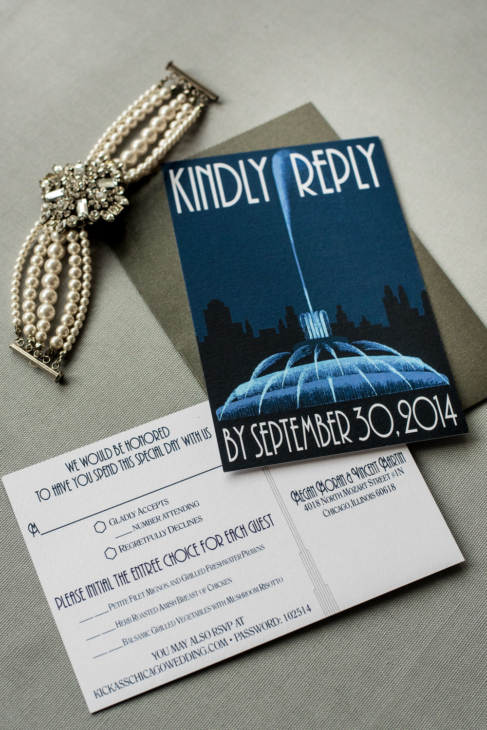 Chicago Wedding Invitation with Skyline, Cityscape, Map, and Fountain with an Art Deco Theme in Navy and Silver in a Pocket Invite by Ashley Parker Creative (RSVP)