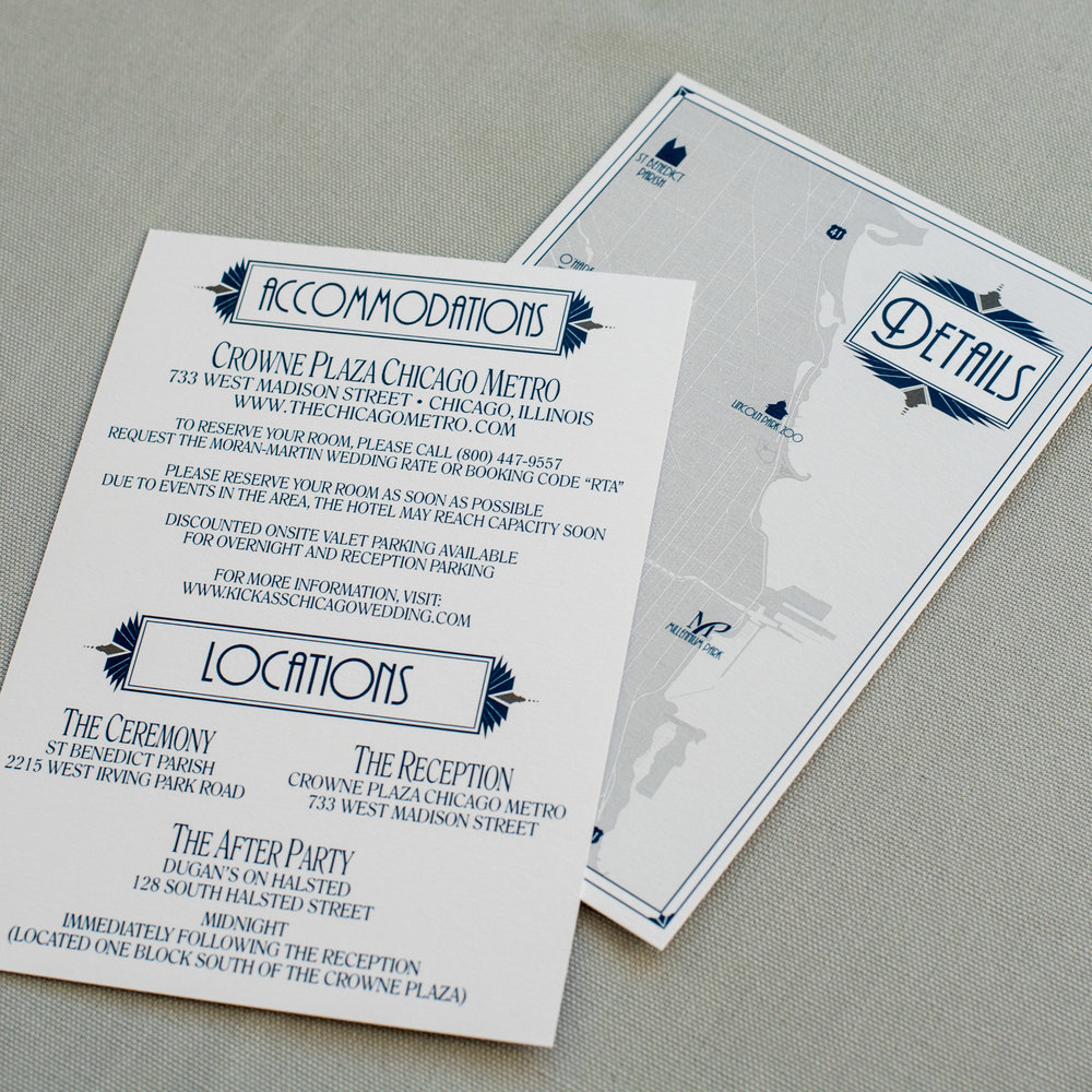 Chicago Wedding Invitation with Skyline, Cityscape, Map, and Fountain with an Art Deco Theme in Navy and Silver in a Pocket Invite by Ashley Parker Creative Details Insert and Chicago Map