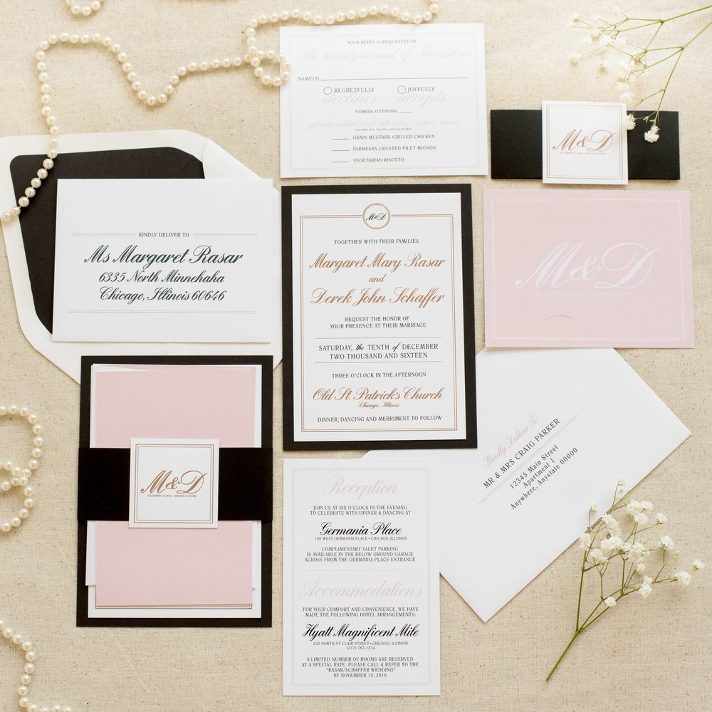 Felicity Wedding Invitation by Ashley Parker Creative.  An elegant, traditional feminine invite in Rose Gold Foil, Blush, Black and White with envelope addressing, liner and bellyband.