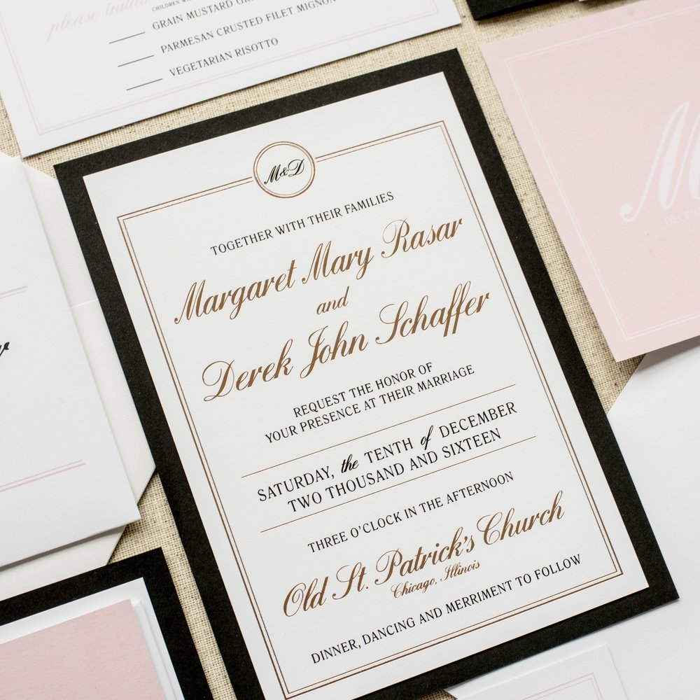 Felicity Wedding Invitation by Ashley Parker Creative.  An elegant, traditional feminine invite in Rose Gold Foil, Blush, Black and White with envelope addressing, liner and bellyband (Main Invite)