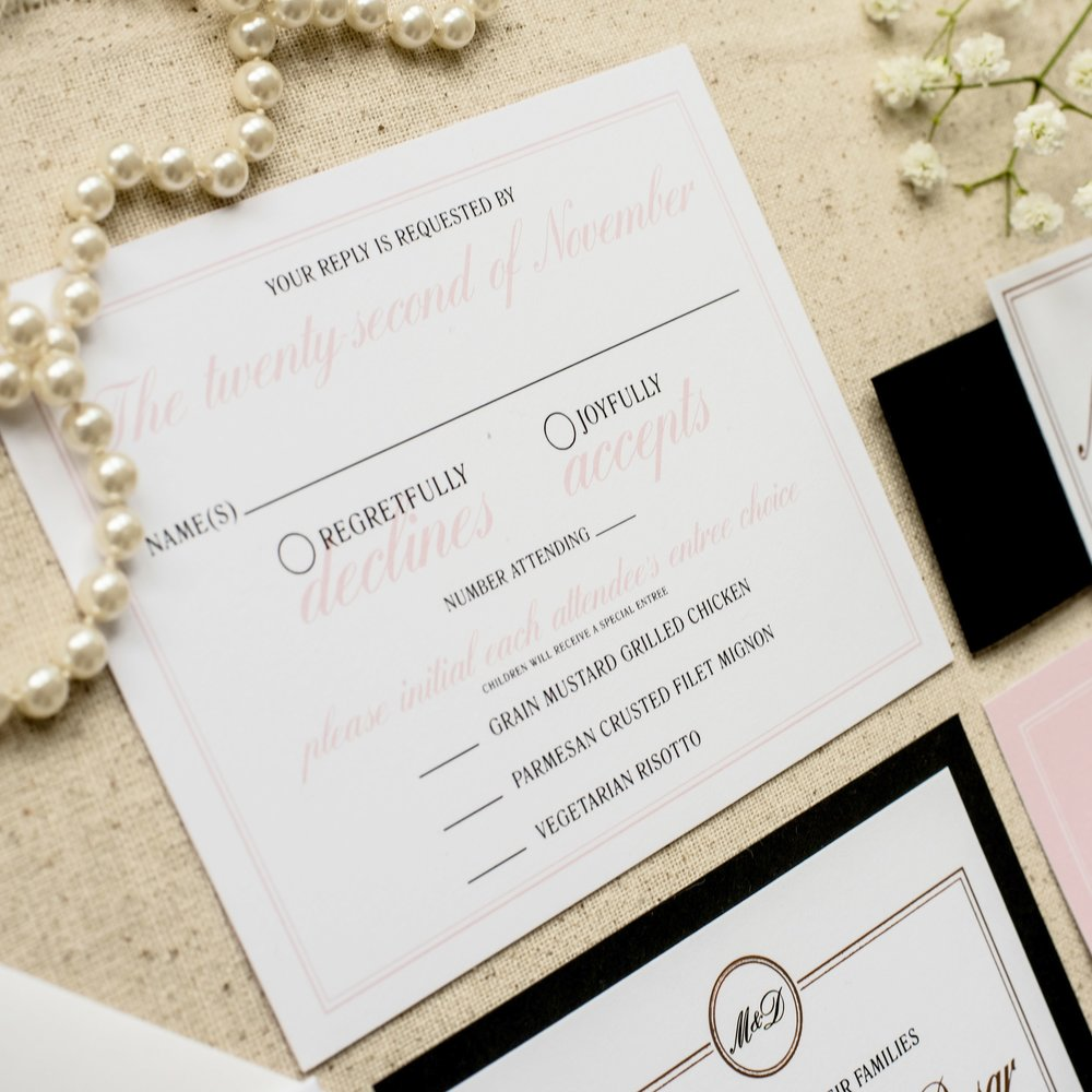 Felicity Wedding Invitation by Ashley Parker Creative.  An elegant, traditional feminine invite in Rose Gold Foil, Blush, Black and White with envelope addressing, liner and bellyband. (RSVP)
