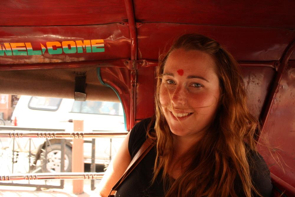 Cruising in a tuk-tuk in New Delhi