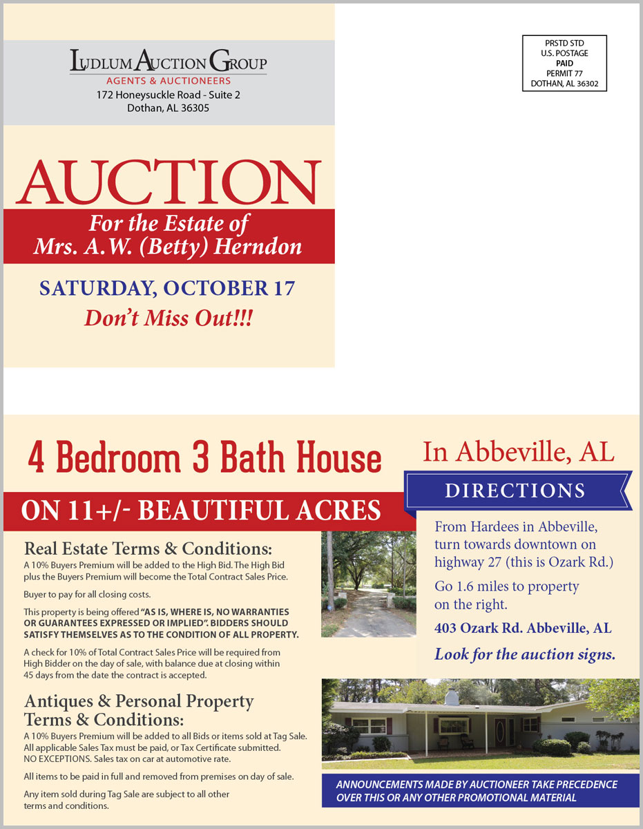 Abbeville, FL Estate Auction mailer