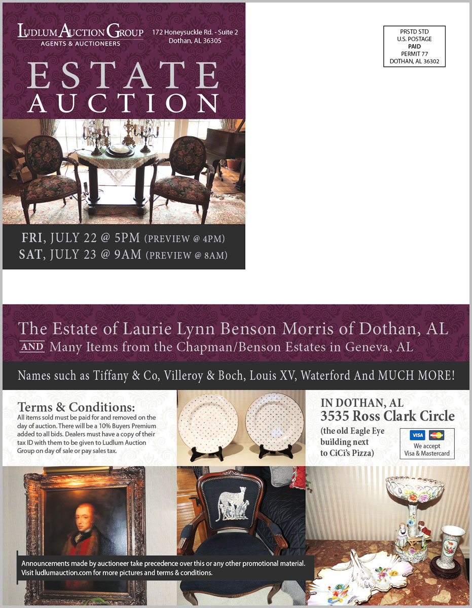 Dothan, AL Estate Auction mailer