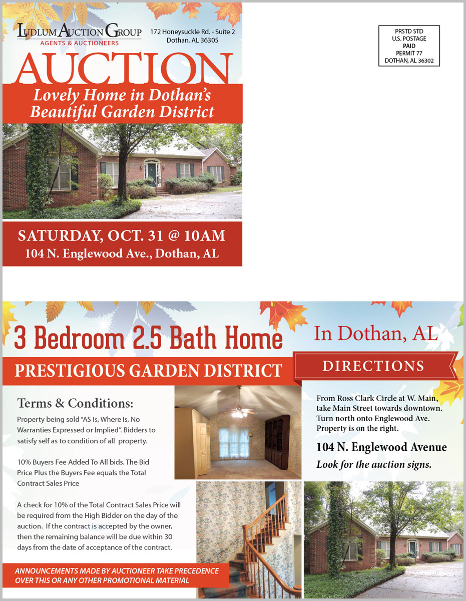 Dothan Garden District, AL Estate Auction mailer