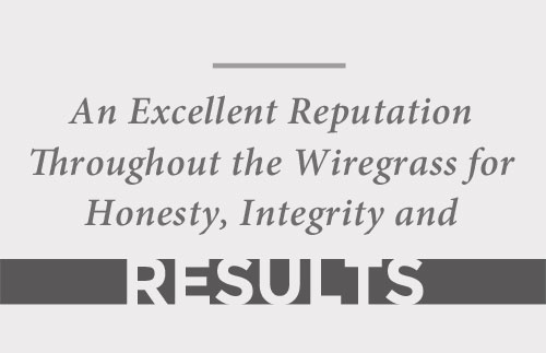 Excellent reputation though out the Wiregrass area for Honesty, Integrity & Results