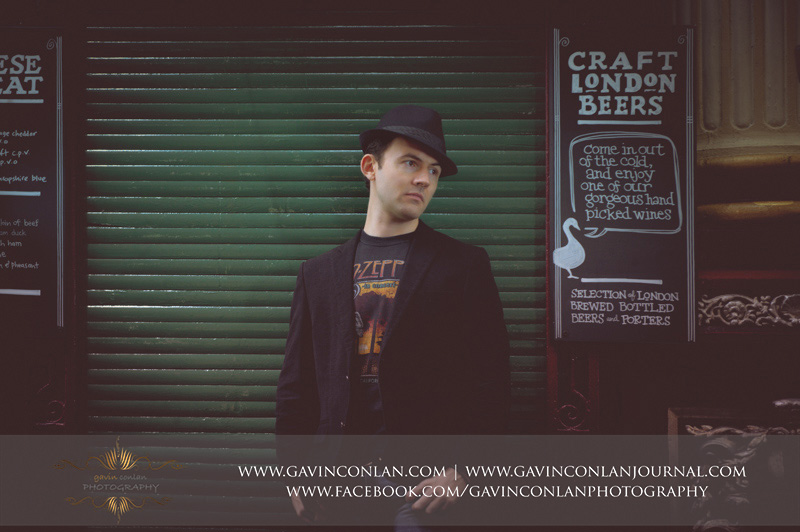 male portrait outside Toms Bar at Leadenhall Market. London engagement photography by  gavin conlan photography Ltd