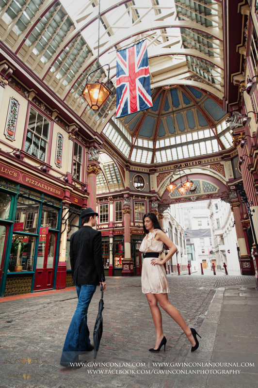 creative full length couple portrait at Leadenhall Market. London engagement photography by  gavin conlan photography Ltd