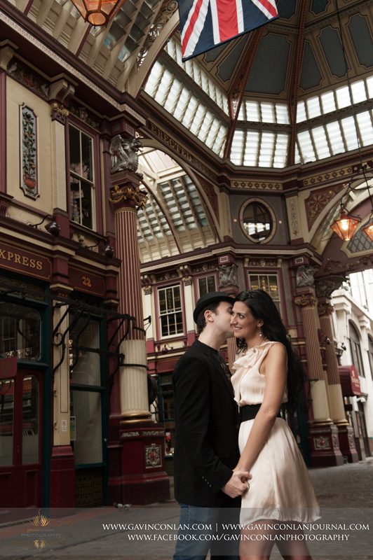 creative couple portrait at Leadenhall Market. London engagement photography by  gavin conlan photography Ltd