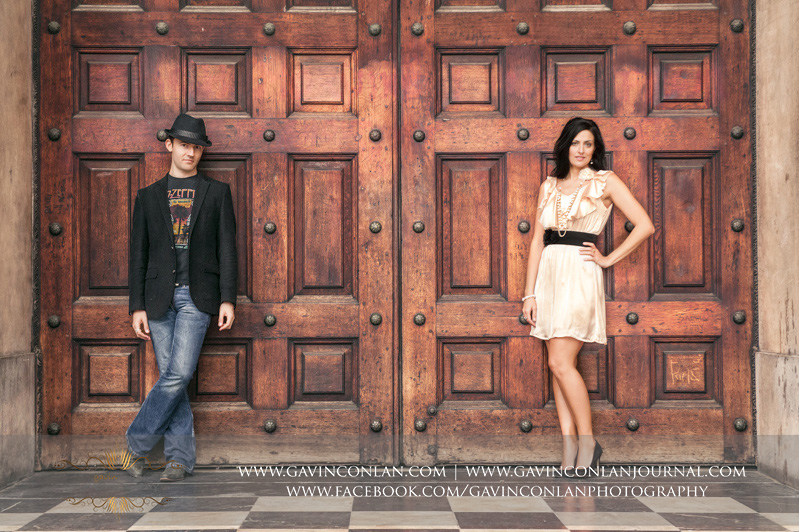 full length fashion portrait outside the main doors of St Pauls Cathedral. London engagement photography by  gavin conlan photography Ltd