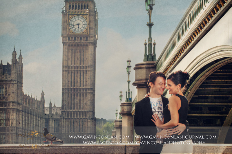 creative couple portrait with Houses of Parliament in the background. London engagement photography by  gavin conlan photography Ltd