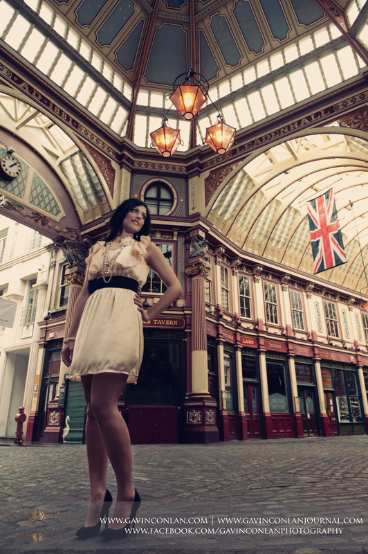 full length female portrait taken at Leadenhall Market. London engagement photography by  gavin conlan photography Ltd