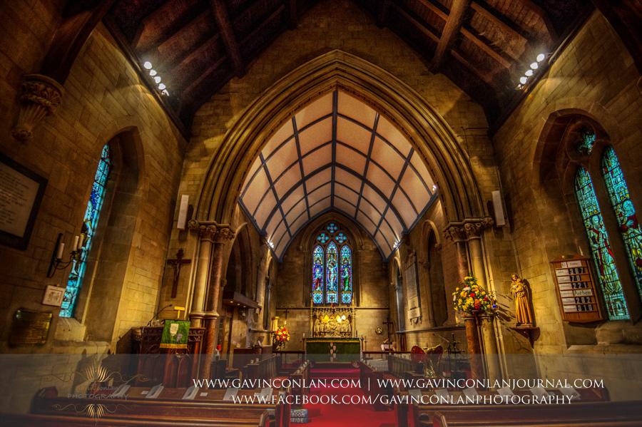 Interior.Wedding photography at All Saints Cranham by gavin conlan photography Ltd