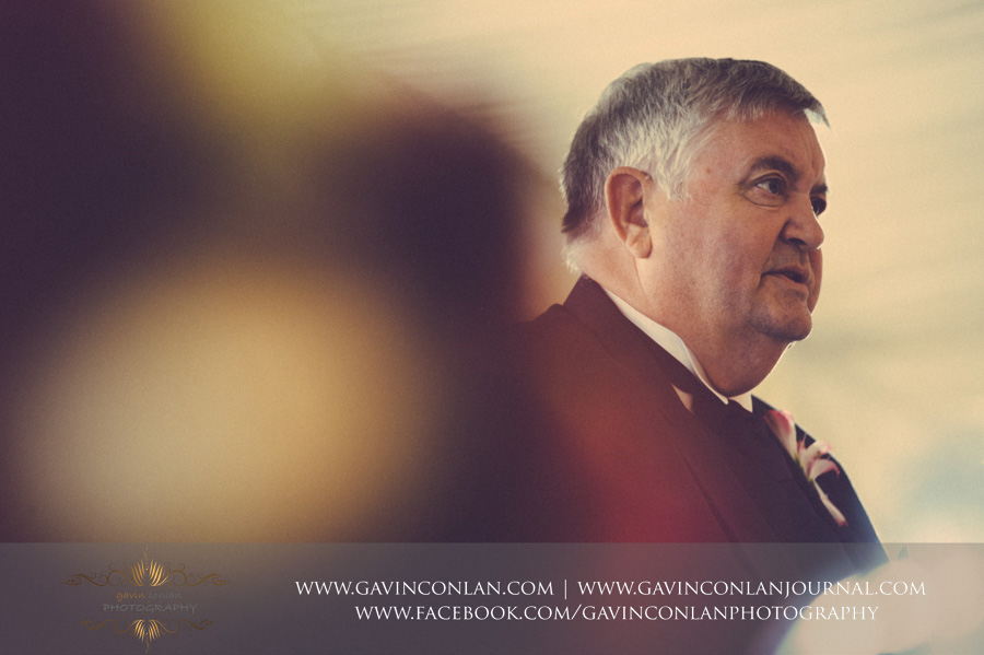 father of the bride giving his speech. Wedding photography at  Moor Hall Venue  by  gavin conlan photography Ltd