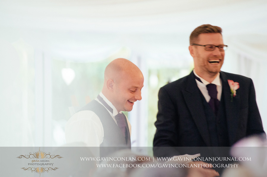best men giving their speech. Wedding photography at  Moor Hall Venue  by  gavin conlan photography Ltd