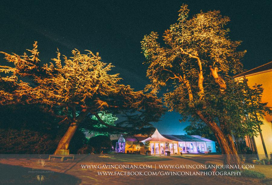 Moor Hall Venue exterior at night.Wedding photography at Moor Hall Venue by gavin conlan photography Ltd