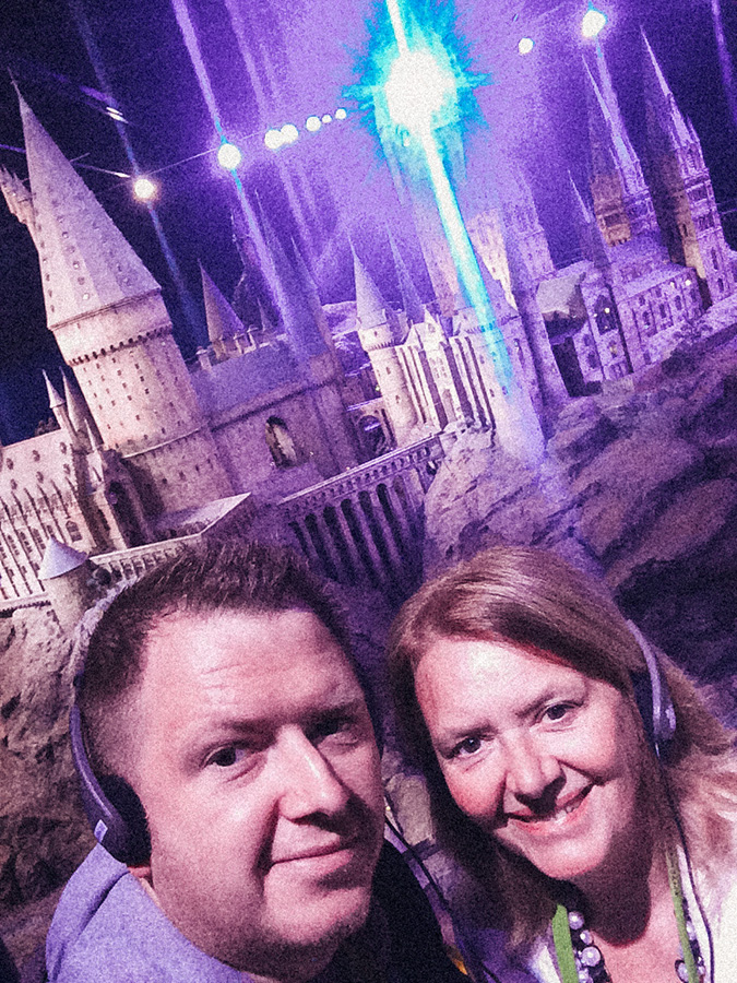 photo of mum and myself in front of the amazing Hogwarts Castle Model