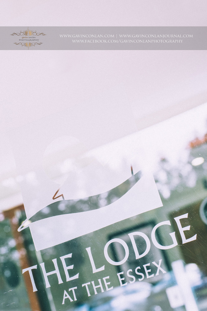 detail photograph of the logo of The Lodge at The Essex. Wedding photography at  The Essex Golf and Country Club  by  gavin conlan photography Ltd