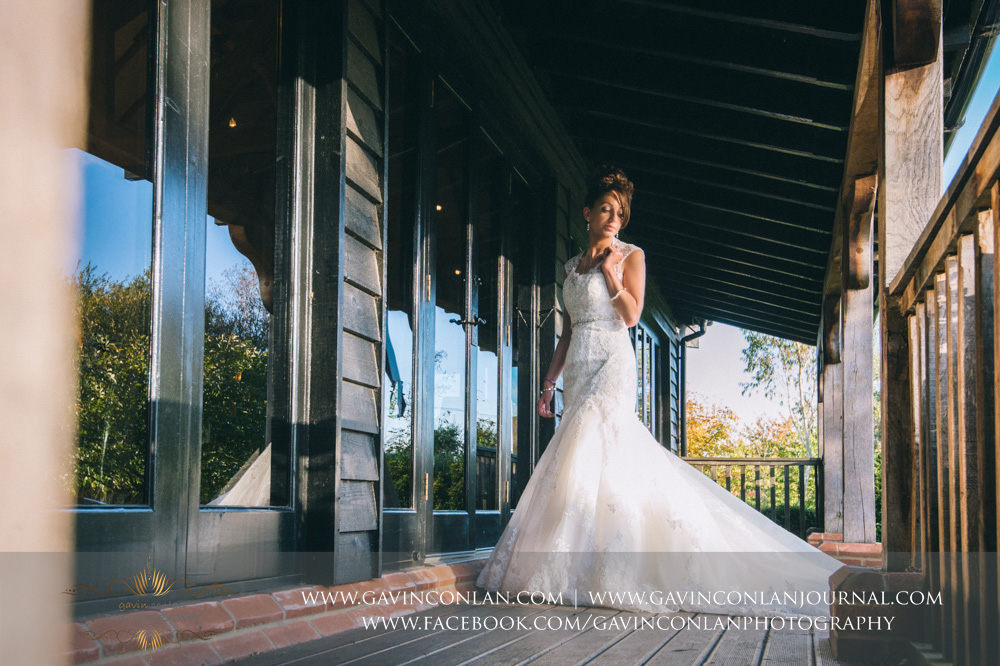 creative full length bridal portrait. Wedding photography at  Crabbs Barn  by  gavin conlan photography Ltd