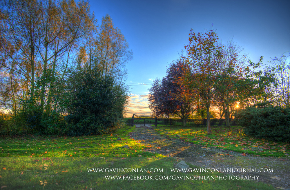 stunning sunset over the fields next to Crabbs Barn. Wedding photography at  Crabbs Barn  by  gavin conlan photography Ltd