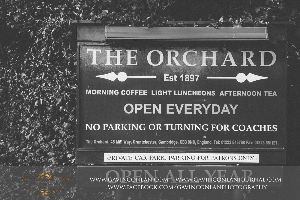 the signpost of the famous Orchard tea rooms in Grantchester, Cambridgeshire